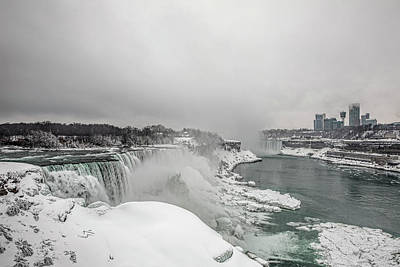 Photograph - Niagara Falls Winter Wide by Josh Bryant