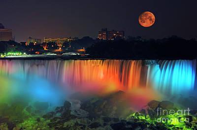 Photograph - Niagara Falls With Rising Supermoon by Charline Xia