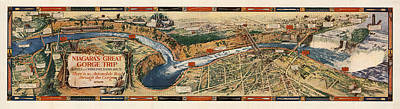 Cargo Boats - Niagaras Great Gorge Trip - Pictorial Map - Antique Illustrated Map by Studio Grafiikka