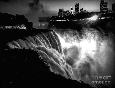 Photograph - Niagara At Night by Luther Fine Art