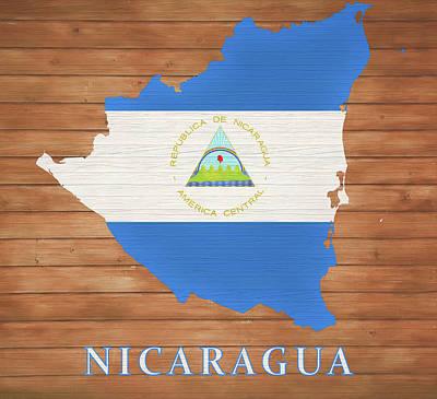Animal Watercolors Juan Bosco - Nicaragua Rustic Map On Wood by Dan Sproul