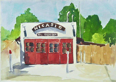 Painting - Nicasio Volunteer Fire Department by Tom Simmons