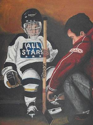 Hockey Player Painting - Nice And Tight by Ron  Genest