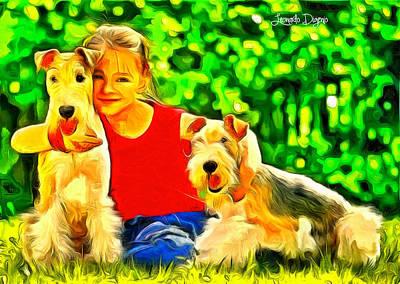 Aged Painting - Nice Kids by Leonardo Digenio