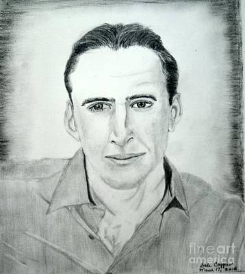 Portaits Drawing - Nicholas Cage by Dale Ballenger