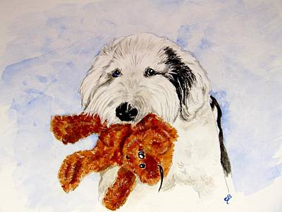 Teddy Bear Watercolor Painting - Nick And Bear by Carol Blackhurst