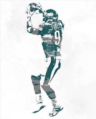 Mixed Media - Nick Foles Philadelphia Eagles Pixel Art 10 by Joe Hamilton