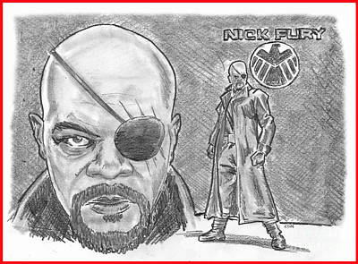 Drawing - Nick Fury- Agent Of Shield by Chris  DelVecchio