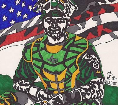 Baseball Art Drawing - Nick Rickles 1 by Jeremiah Colley