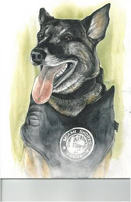 Police Dog Painting - Nick by Rob Long