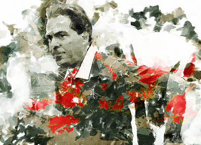 Nick Saban A Simple Portrait Art Print by John Farr