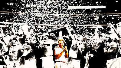 Louisiana State University Mixed Media - Nick Saban Celebrates by Brian Reaves