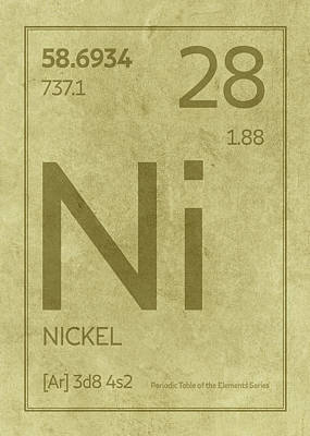 Periodic Table Wall Art - Mixed Media - Nickel Element Symbol Periodic Table Series 028 by Design Turnpike
