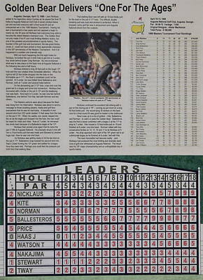 Amen Corner Drawing - Nicklaus 1986 Masters Victory by Marc Yench