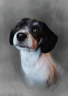 Digital Art - Nico Pet Dog Portrait by Michael Greenaway