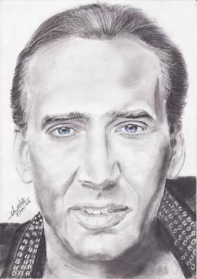 Nicolas Cage Drawing - Nicolas Cage by Annie GODET