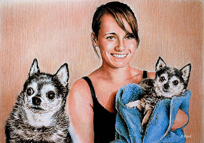 Pups Drawing - Nicole And Julieann by Andrew Read
