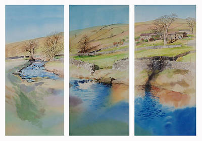 Peaceful Scene Painting - Nidderdale Triptych by Matthew Phinn