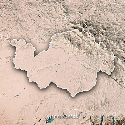 Digital Art - Niederbayern Regierungsbezirk Bayern 3d Render Topographic Map N by Frank Ramspott