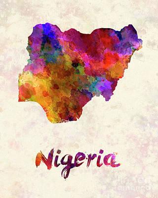 Nigeria In Watercolor Art Print by Pablo Romero