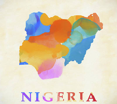 Painting - Nigeria Watercolor Map by Dan Sproul