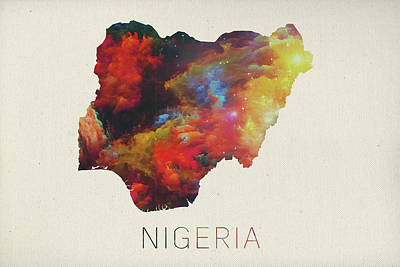 Lagos Mixed Media - Nigeria Watercolor Map by Design Turnpike