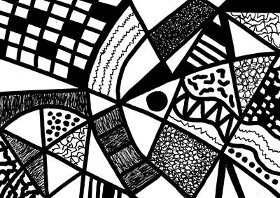 Drawing - Black And White 20/night And Day 1 by Susan Schanerman