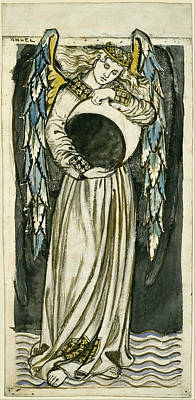 Night Angel Drawing - Night Angel Holding A Waning Moon by William Morris