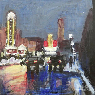 Painting - Night Around Michigan Theater by Yoshiko Mishina