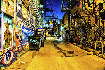 Photograph - Night At Art Alley by Steven Bateson