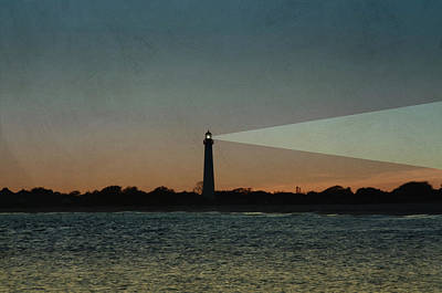 Lighthouse Digital Art - Night At Cape May Lighthouse by Bill Cannon