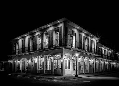 Photograph - Night At Chateau Hotel In Black And White by Greg Mimbs