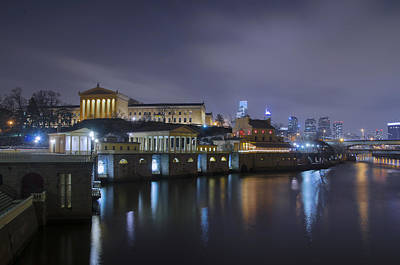 Waterworks Digital Art - Night At Fairmount Waterworks And  Art Museum by Bill Cannon
