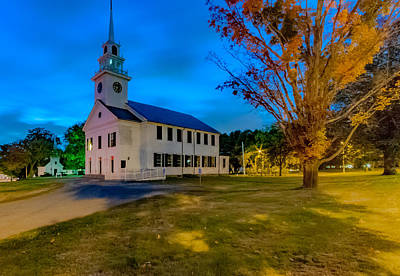Photograph - Night At First Parish Church In Milton, Massachusetts by Brian MacLean