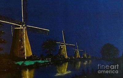Night At Kinderdijk Original by Birgit Moldenhauer