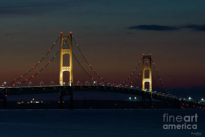 Photograph - Night At Mackinac Bridge by Jennifer White