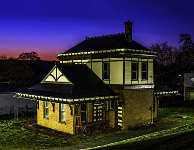 Photograph - Night At Millersburg Train Station by Nick Zelinsky