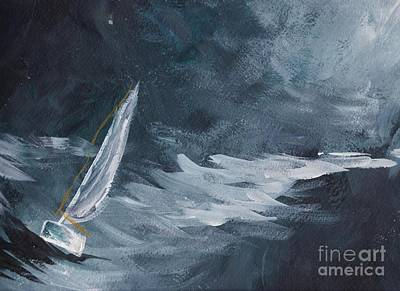 Sailing At Night Painting - Night At Sea by Tina Steele Penn