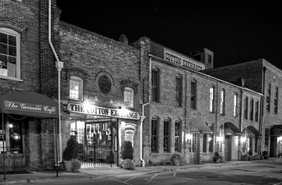 Photograph - Night At The Cotton Exchange In Black And White by Greg Mimbs