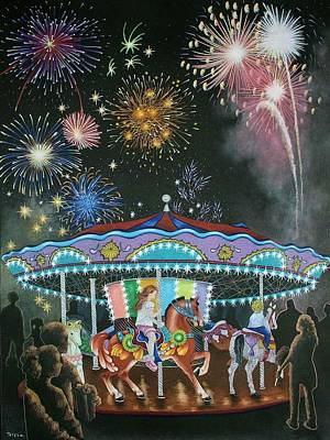 Light Paint Drawing - Night At The Fair by Teresa Frazier