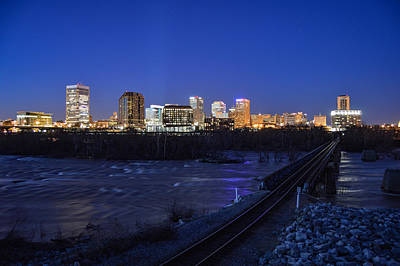 Photograph - Night At The Floodwall 2 by Aaron Dishner
