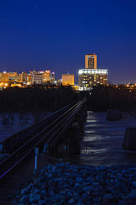 Photograph - Night At The Floodwall by Aaron Dishner