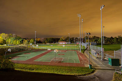 Photograph - Night At The High School Basketball Court by Brian MacLean