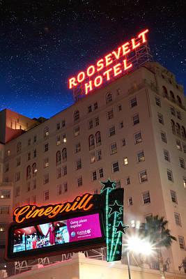 Photograph - Night At The Hotel Roosevelt by Robert Hebert