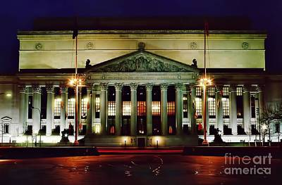 Photograph - Night At The National Archives Building by D Hackett