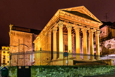 Photograph - Night At The Roman Temple by Randy Scherkenbach