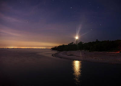 Photograph - Night At The Sanibel Lighthouse by Chrystal Mimbs