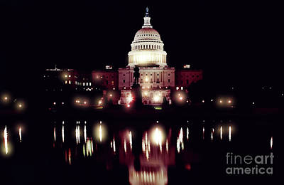 Photograph - Night - At - The - Us Capitol by D Hackett