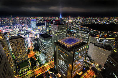 Photograph - Night At Tokyo Metropolitan Government Building by Craig Szymanski