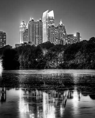 Night Atlanta.piedmont Park Lake. Art Print by Anna Rumiantseva